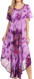 Sakkas Nalani Womens Flowy Caftan Tie Dye Summer Dress Cover up Relax Fit#color_Purple