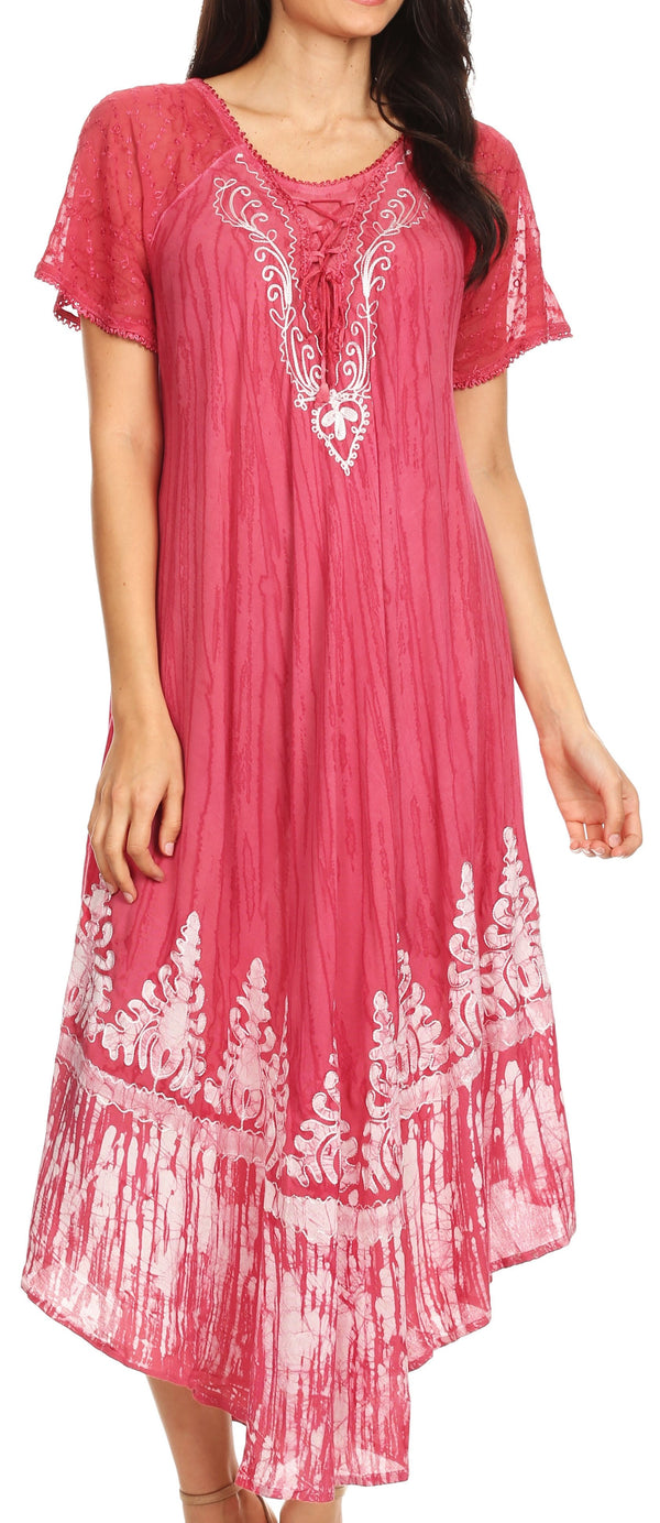 Sakkas Devora Women's Maxi NightGown Caftan Kaftan Dress Tie Dye Batik & Corset#color_Blush