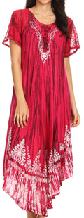 Sakkas Devora Women's Maxi NightGown Caftan Kaftan Dress Tie Dye Batik & Corset#color_Fuchsia-navy
