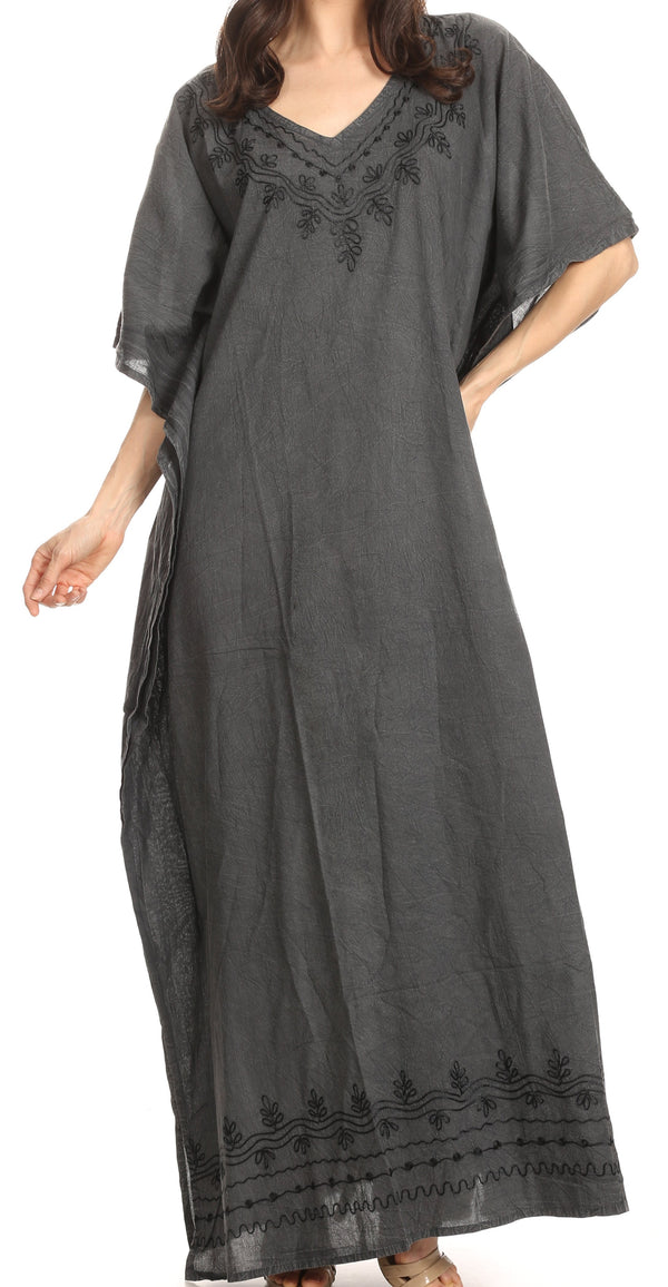 Sakkas Favi Womens Casual Long Maxi Dress Caftan Cover Up Loungewear in Cotton#color_1-Black