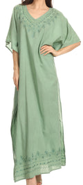 Sakkas Favi Womens Casual Long Maxi Dress Caftan Cover Up Loungewear in Cotton#color_Aqua