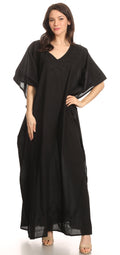 Sakkas Favi Womens Casual Long Maxi Dress Caftan Cover Up Loungewear in Cotton#color_Black