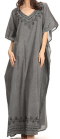 Sakkas Favi Womens Casual Long Maxi Dress Caftan Cover Up Loungewear in Cotton#color_Light Grey