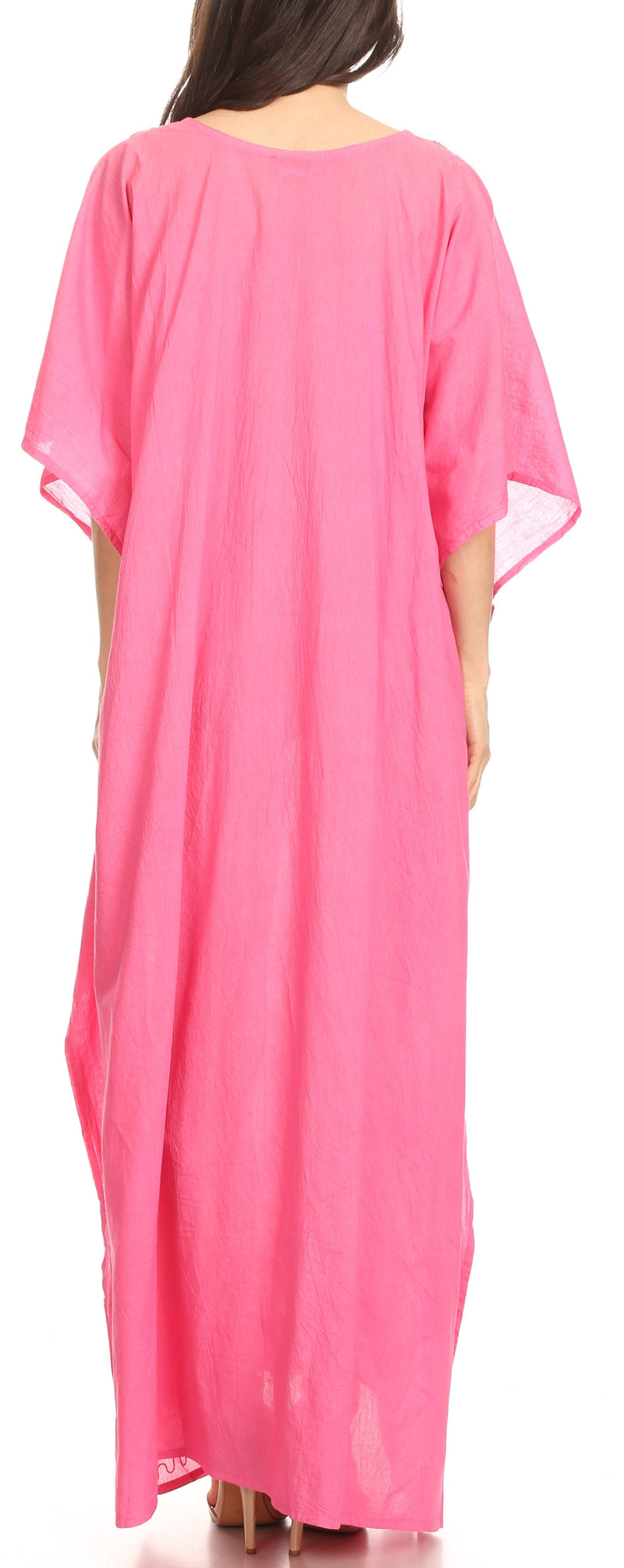 Sakkas Favi Womens Casual Long Maxi Dress Caftan Cover Up Loungewear in Cotton