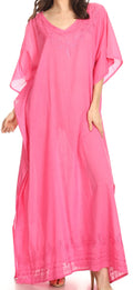 Sakkas Favi Womens Casual Long Maxi Dress Caftan Cover Up Loungewear in Cotton#color_Pink