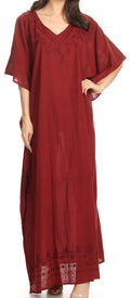 Sakkas Favi Womens Casual Long Maxi Dress Caftan Cover Up Loungewear in Cotton#color_Red