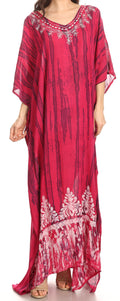 Sakkas Tacy Women's Casual Boho Summer Maxi Dress Caftan Kaftan Cover-up LougeWear#color_Fuschia Navy