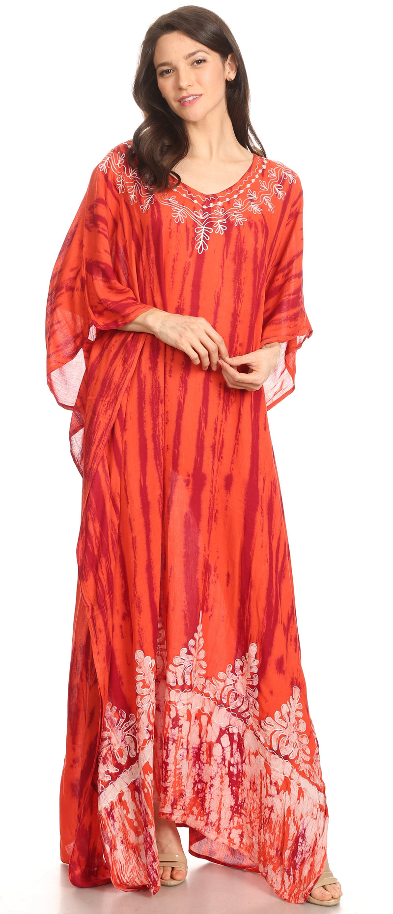 Sakkas Tacy Women's Casual Boho Summer Maxi Dress Caftan Kaftan Cover-up LougeWear