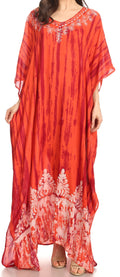 Sakkas Tacy Women's Casual Boho Summer Maxi Dress Caftan Kaftan Cover-up LougeWear#color_Red Burgundy
