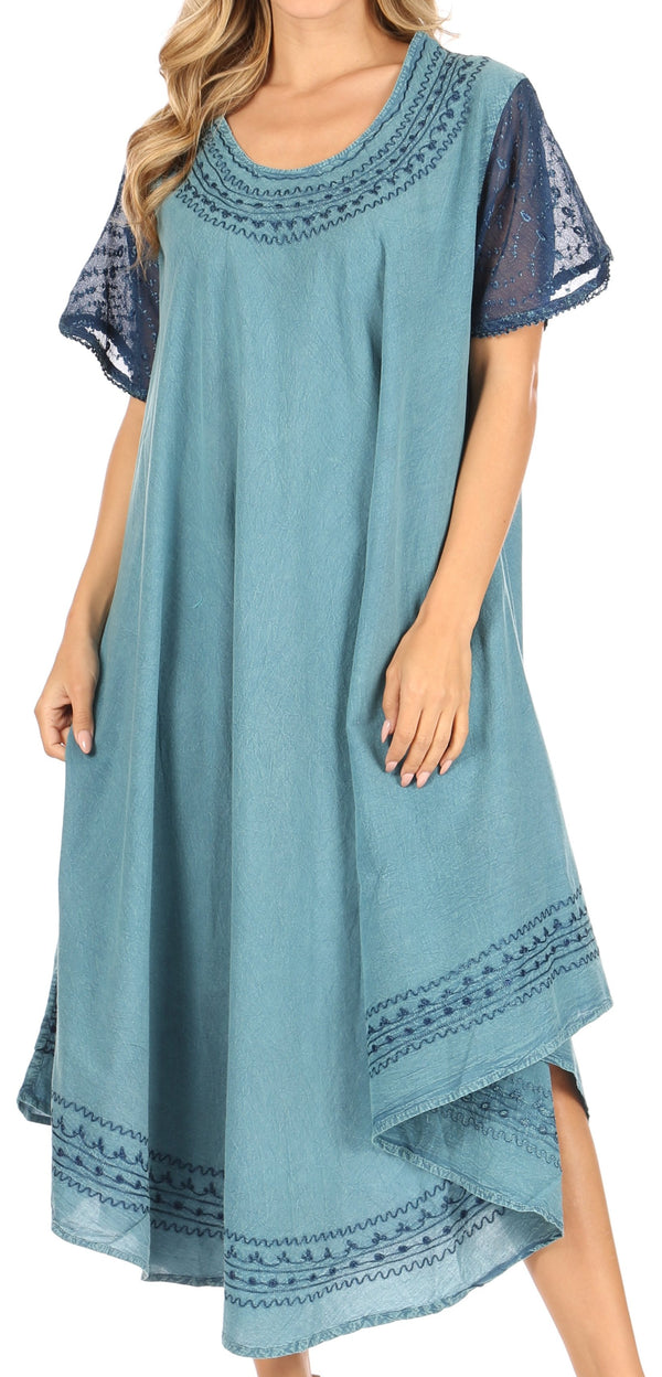 Sakkas Ines Cotton Everyday Essentials Cap Sleeve Caftan Dress Kaftan Cover Up#color_Aqua