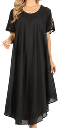 Sakkas Ines Cotton Everyday Essentials Cap Sleeve Caftan Dress Kaftan Cover Up#color_Black