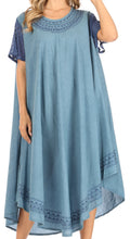 Sakkas Ines Cotton Everyday Essentials Cap Sleeve Caftan Dress Kaftan Cover Up#color_Denim Blue