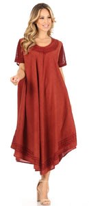 Sakkas Ines Cotton Everyday Essentials Cap Sleeve Caftan Dress Kaftan Cover Up