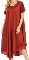 Sakkas Ines Cotton Everyday Essentials Cap Sleeve Caftan Dress Kaftan Cover Up#color_Red