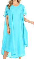 Sakkas Ines Cotton Everyday Essentials Cap Sleeve Caftan Dress Kaftan Cover Up#color_Turquoise