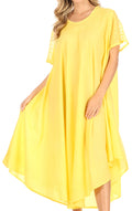 Sakkas Ines Cotton Everyday Essentials Cap Sleeve Caftan Dress Kaftan Cover Up#color_Yellow