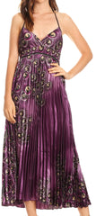 Sakkas Caterina Strapless V-neck Padded Empire Waist Satin Maxi Long Dress