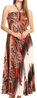 Sakkas Vanna Strapless Pleated Satin Summer Mid Dress Adjustable#color_Brown