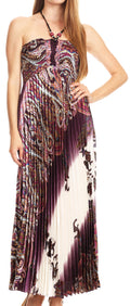 Sakkas Vanna Strapless Pleated Satin Summer Mid Dress Adjustable#color_Purple