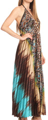 Sakkas Zira Adjustable Long Pleated Empire Waist Dress Paisley Evening Satin