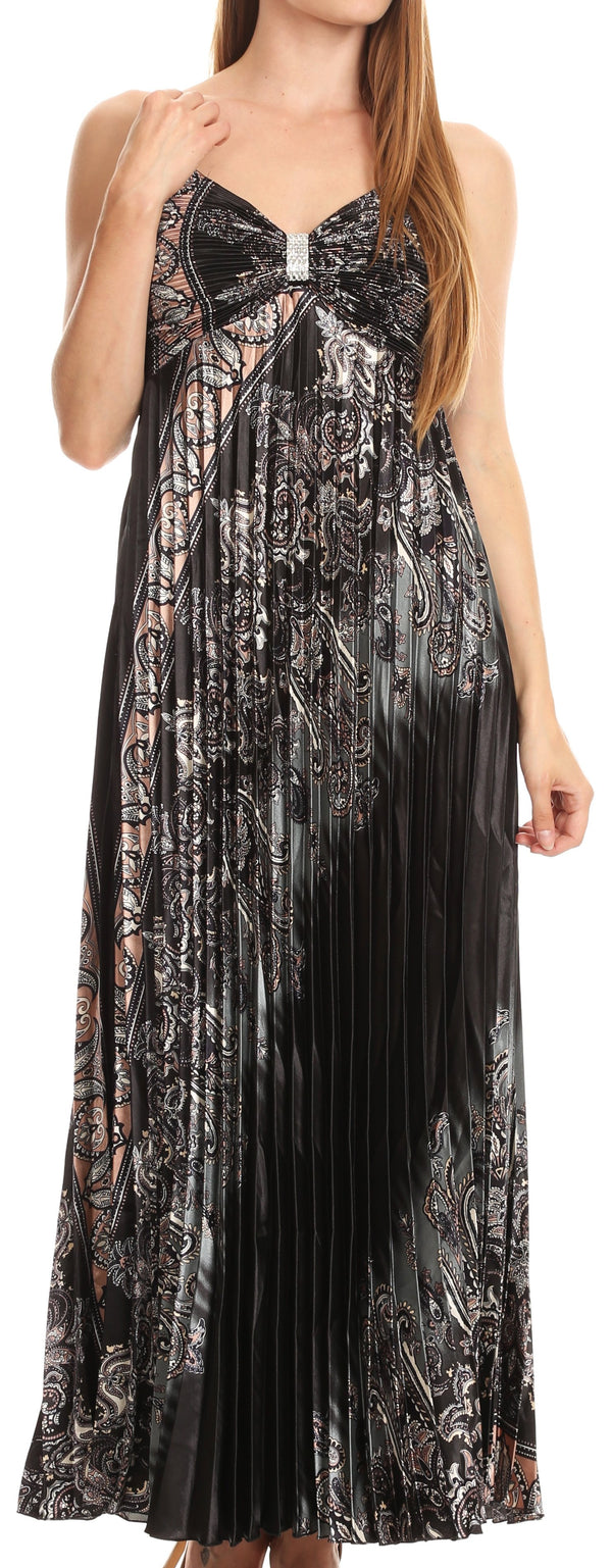 Sakkas Isa Long Pleated Adjustable Contouring Satin Dress with Spaghetti Straps#color_Black