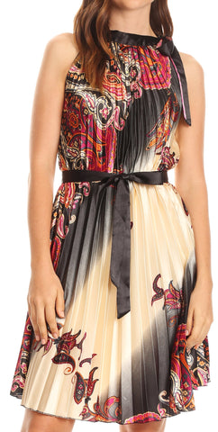 Sakkas Bettina Shift Accordion Pleated Satin Sleeveless Short Dress