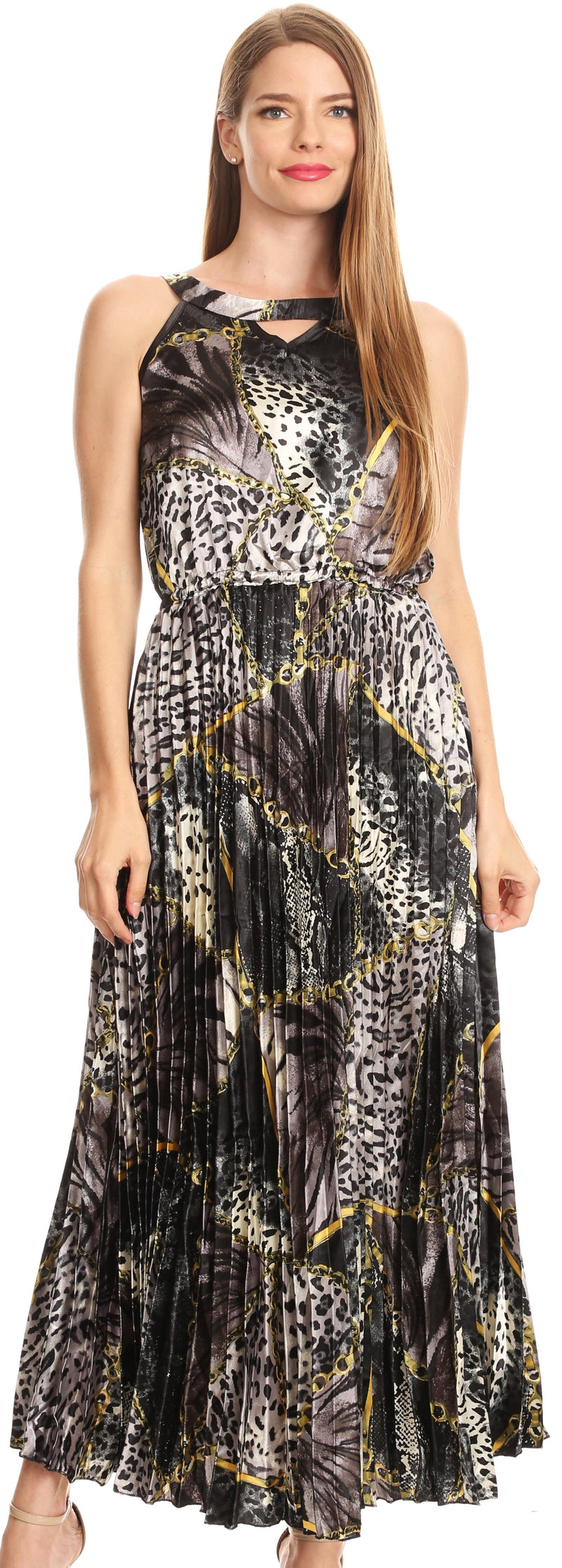 Sakkas Vanna Sleeveless Exotic Animal Print Casual Evening Dress Pleated Satin