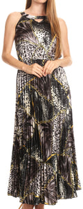 Sakkas Vanna Sleeveless Exotic Animal Print Casual Evening Dress Pleated Satin#color_Black