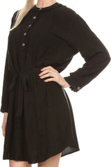 Sakkas Leslie Henley Long Sleeve Crochet Cuffed Embroidered Adjustable Tie Dress