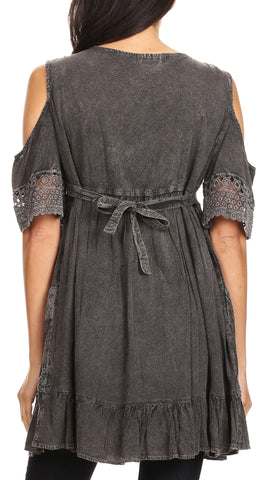 Sakkas Gerel Women's Cold Shoulder Summer Bohemian Swing Midi Dress with Ties Nice
