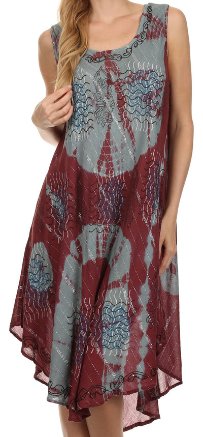 Sakkas Delaney Beaded Embroidery Sequin Silver Threaded Caftan Dress / Cover Up