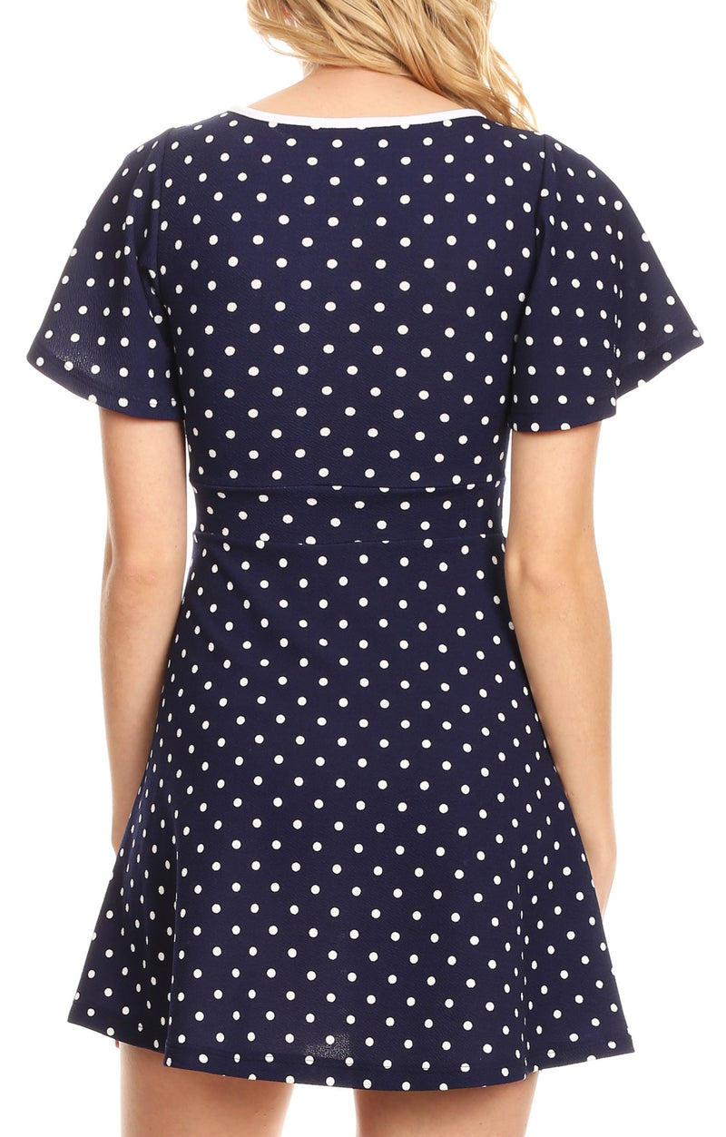 Sakkas Dalila Womens Casual Polka Dot V neck Dress Shift swing Short Mini Party