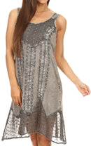 Sakkas Marian Sleeveless Crochet Summer Midi Slim Dress with Emboidery