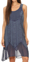 Sakkas Marian Sleeveless Crochet Summer Midi Slim Dress with Emboidery#color_Light Blue Denim