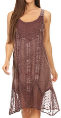 Sakkas Marian Sleeveless Crochet Summer Midi Slim Dress with Emboidery#color_Mauve