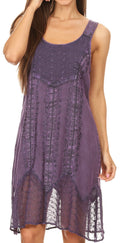 Sakkas Marian Sleeveless Crochet Summer Midi Slim Dress with Emboidery#color_Purple