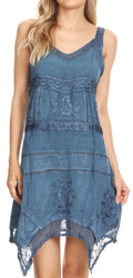 Sakkas Sonia Womens Sleeveless Bohemian Summer Casual Short Dress Stonewashed#color_Blue