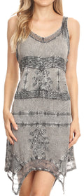 Sakkas Sonia Womens Sleeveless Bohemian Summer Casual Short Dress Stonewashed#color_Charcoal