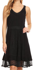 Sakkas Dalila Sleeveless Midi Dress Stonewash with Embroidery and Crochet Lace#color_Black