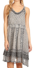 Sakkas Dalila Sleeveless Midi Dress Stonewash with Embroidery and Crochet Lace#color_Charcoal