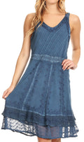 Sakkas Dalila Sleeveless Midi Dress Stonewash with Embroidery and Crochet Lace#color_Denim Blue