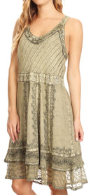 Sakkas Dalila Sleeveless Midi Dress Stonewash with Embroidery and Crochet Lace