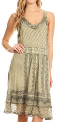 Sakkas Dalila Sleeveless Midi Dress Stonewash with Embroidery and Crochet Lace#color_Olive