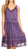 Sakkas Dalila Sleeveless Midi Dress Stonewash with Embroidery and Crochet Lace#color_Purple