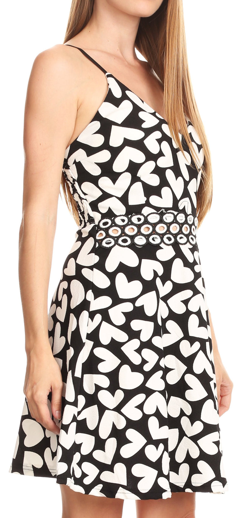 Sakkas Adele Balconette Short Casual Dress Adjustable Shoulder Straps Flared