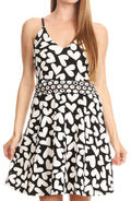 Sakkas Adele Balconette Short Casual Dress Adjustable Shoulder Straps Flared#color_Black/white-hearts