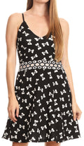 Sakkas Adele Balconette Short Casual Dress Adjustable Shoulder Straps Flared#color_Black-bow-tie