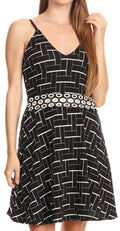 Sakkas Adele Balconette Short Casual Dress Adjustable Shoulder Straps Flared#color_Black-parquet