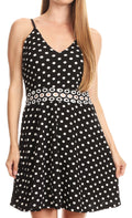 Sakkas Adele Balconette Short Casual Dress Adjustable Shoulder Straps Flared#color_Black/white polka dot