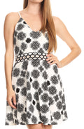 Sakkas Adele Balconette Short Casual Dress Adjustable Shoulder Straps Flared#color_White/black-paisley